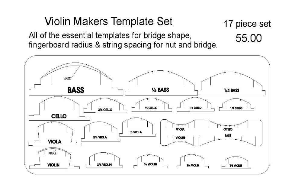 guitar parts center violin makers template set